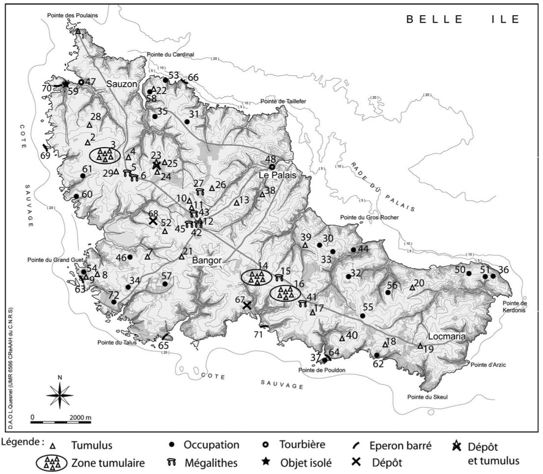 Carte de répartition des sites pré et protohistoriques à Belle-Île-en-Mer (DAO L. Quesnel, complété par L. Audouard.)